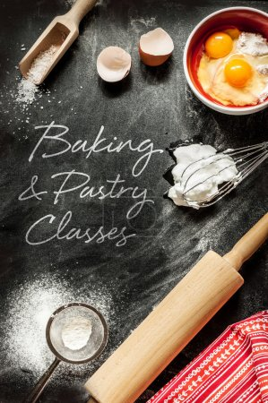 Photo for Baking and pastry classes - poster design. Dough ingredients on black chalkboard from above. - Royalty Free Image
