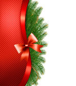 Christmas tree branches with a red ribbon and a bow Vector