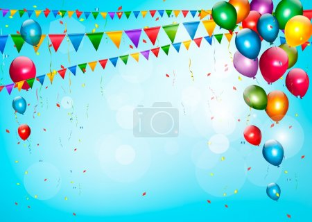 Illustration for Colorful holiday background with balloons and flags. Vector - Royalty Free Image