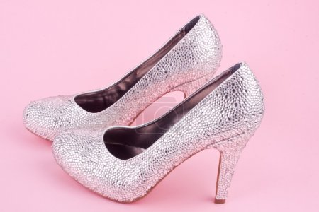 Shiny high heel shoes with with rhinestones