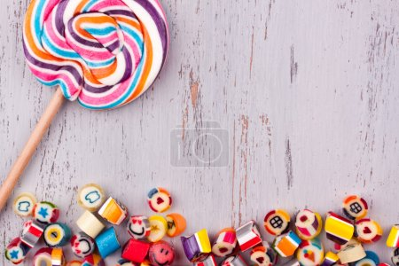 Assorted fruit candies and lollipop
