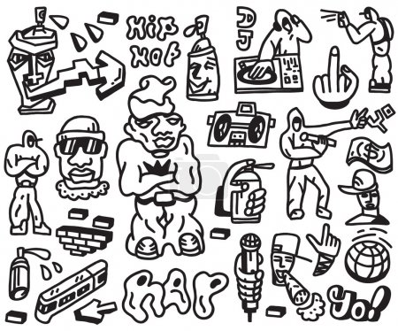Rap , hip hop - doodles set