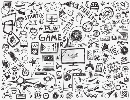 Illustration pour Jeux d'ordinateur - définir des icônes vectorielles dans le style de croquis - image libre de droit