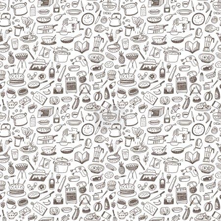 Illustration pour Cuisine, nourriture naturelle - motif sans couture avec des icônes dans le style croquis - image libre de droit