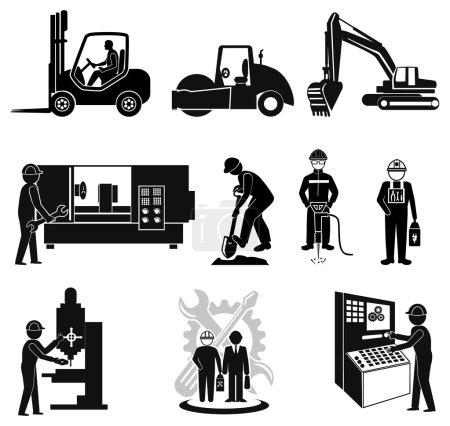 Illustration pour Icônes d'ingénierie, ensemble d'icônes industrielles - image libre de droit