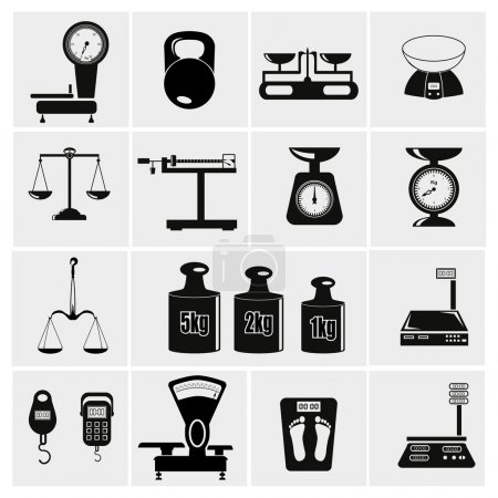 Illustration for Web icon set - scales, weighing, weight, balance - Royalty Free Image