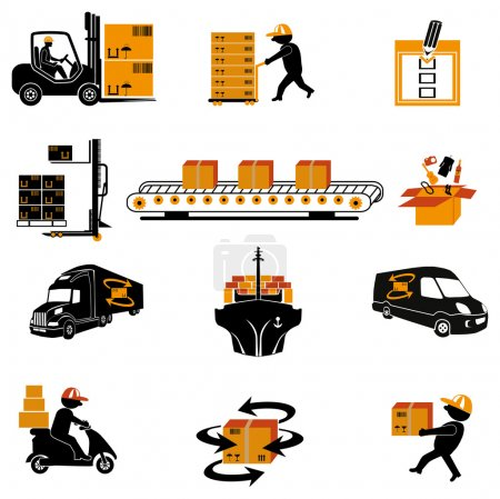 Illustration for Illustration of shipping icons. - Royalty Free Image