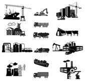 Industrial building factory and power plants icon set Transport Vector illustration