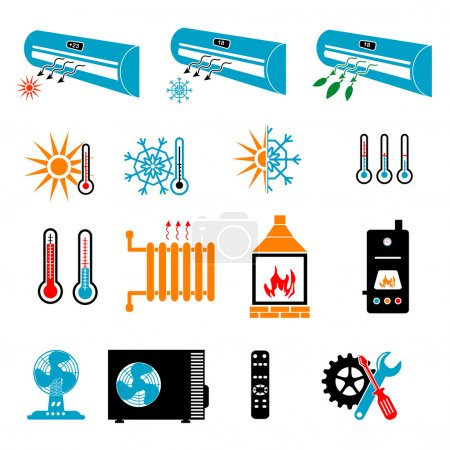 Heating and Cooling Icons, vector illustration...