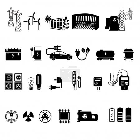 Illustration for Energy, electricity, power icons, vector illustration - Royalty Free Image