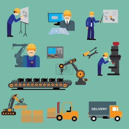Illustration for Factory production process of design manufacture assembly test deliver infographic vector illustration - Royalty Free Image