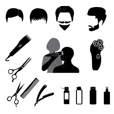 Barbershop symbols icons set