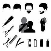 Barbershop symbols icons set