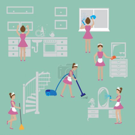 Cleaning .Housewife icon set