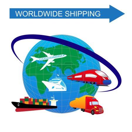 Illustration pour Logistique dynamique concept d'entreprise de la ville avec des véhicules de transport de livraison et globe - image libre de droit