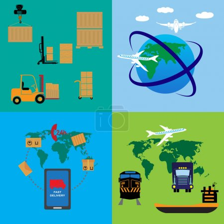 Illustration for Freight transportation and delivery logistics flat icons set with international operator complex service abstract isolated vector illustration - Royalty Free Image