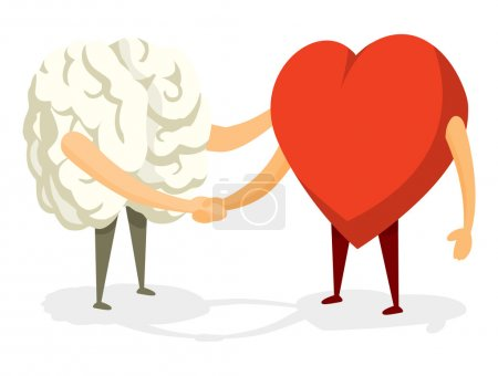 Illustration for Cartoon illustration of friendly handshake between brain and heart - Royalty Free Image