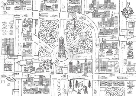 Black and white cartoon city for adult coloring