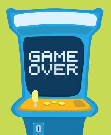Arcade machine showing game over message