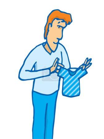 Illustration pour Illustration de dessin animé d'un homme tenant un minuscule t-shirt rétréci ou de petite taille - image libre de droit