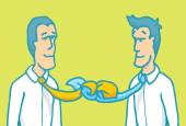 Cartoon illustration concept of business negotiation partners tied by their ties