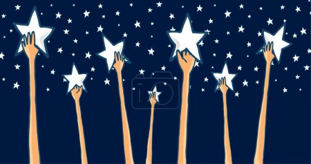 Illustration for Cartoon illustration of group of hands reaching for the stars seeking success or catching dreams - Royalty Free Image