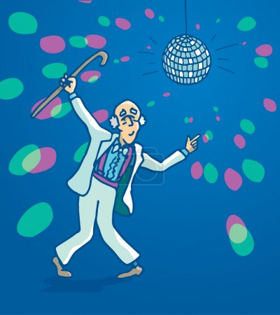 Active senior retro disco dancing