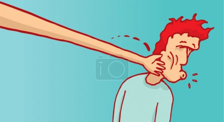 Cartoon illustration of bizarre long arm slapping ...
