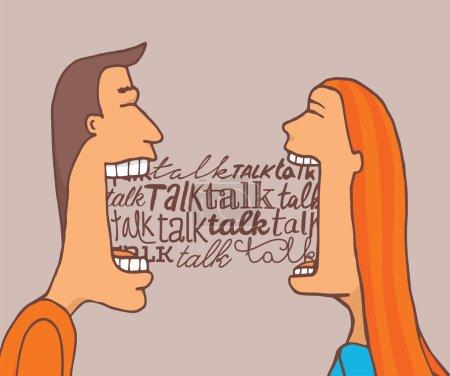 Illustration pour Illustration de bande dessinée de couple parlant beaucoup et partageant une conversation significative - image libre de droit