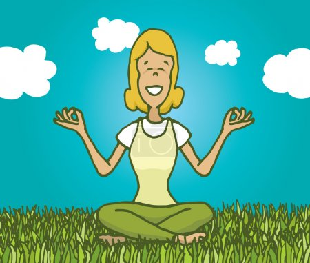 Illustration for Cartoon illustration of woman practising yoga and meditating outdoors feeling nature - Royalty Free Image