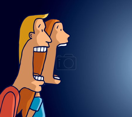 Illustration for Cartoon illustration of scared couple screaming together facing a strong light - Royalty Free Image
