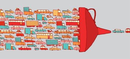 Illustration pour Illustration de dessins animés de voitures dans un embouteillage intense traversant un entonnoir géant - image libre de droit