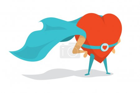 Illustration for Cartoon illustration of a love super hero heart wearing cape - Royalty Free Image
