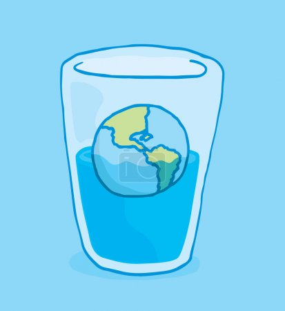 Illustration for Cartoon illustration of planet earth sinking into glass of water - Royalty Free Image