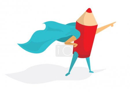Illustration for Cartoon illustration of super artist or pencil standing with hero cape - Royalty Free Image