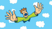 Desperate man free falling from sky
