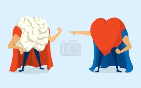 Illustration for Cartoon illustration of super hero battle between brain and heart - Royalty Free Image