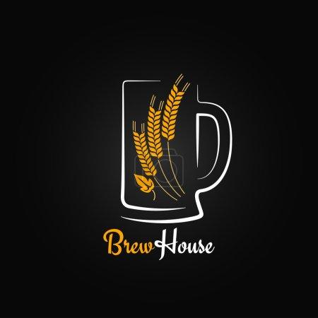 Photo pour Bouteille de bière verre orge design menu fond 8 eps - image libre de droit