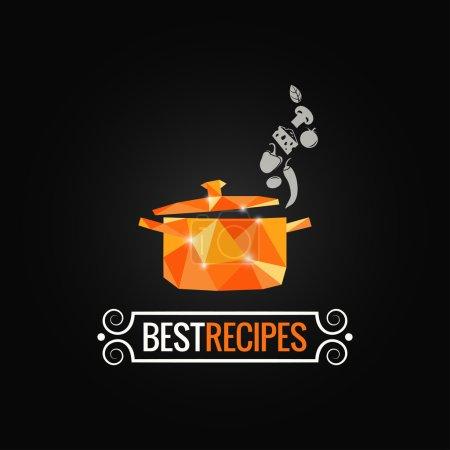 Illustration for Saucepan poly kitchen design background 10 eps - Royalty Free Image