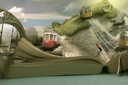 Magical travel book, trams and towns. Dimensional page open
