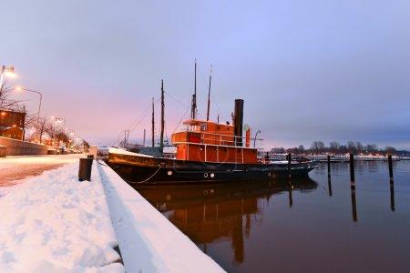 Boats moored in Helsinki, Finland, in the winter