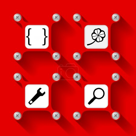 Four red  objects with screws and icons