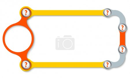 Colored frame with screws and question marks