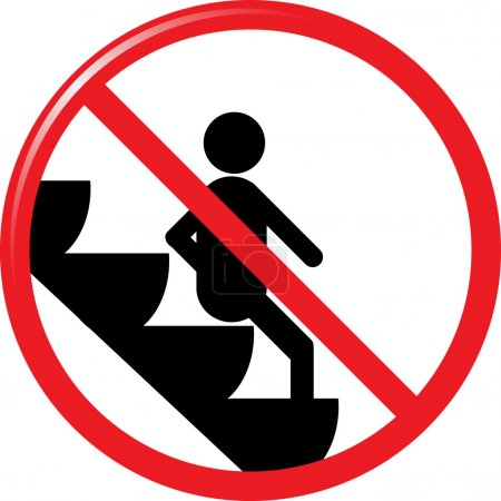 Prohibited from sitting on the escalator