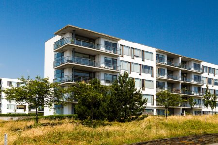 Photo for Apartment building on a sunny summer day in Hellerup, a suburb of Copenhagen, Denmark. - Royalty Free Image