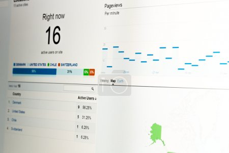 Photo for Close-up of web analytics data showing real-time visitors on website with data on white background. - Royalty Free Image