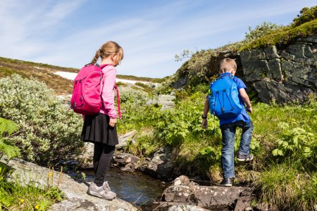 Kids hiking outdoors in nature