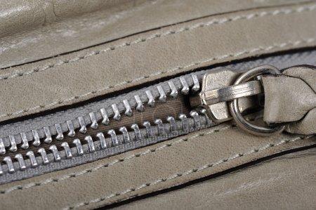 Gray Leather zipper