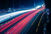 Night traffic with blurred traces from cars