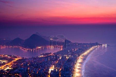 Rio de Janeiro Aerial View at night